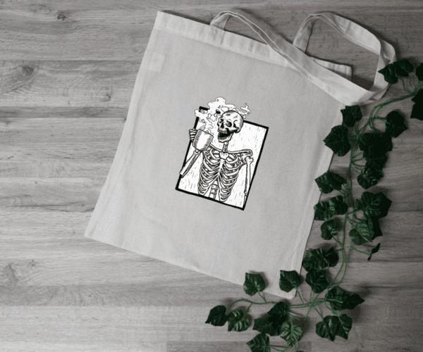 Skeleton Drinking Coffee Tote Bag